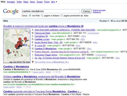 Business Center di Google Maps, risultati ricerca cantine Montalcino