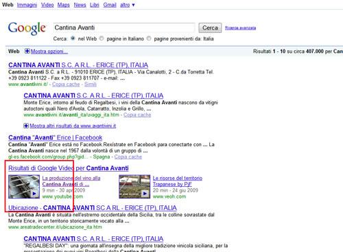 Esempio SERP per il video marketing