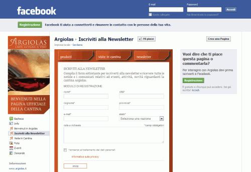 Form newsletter Cantina Argiolas - Facebook