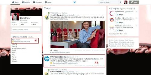 Cchermata con due sponsorizzazioni Twitter Ads