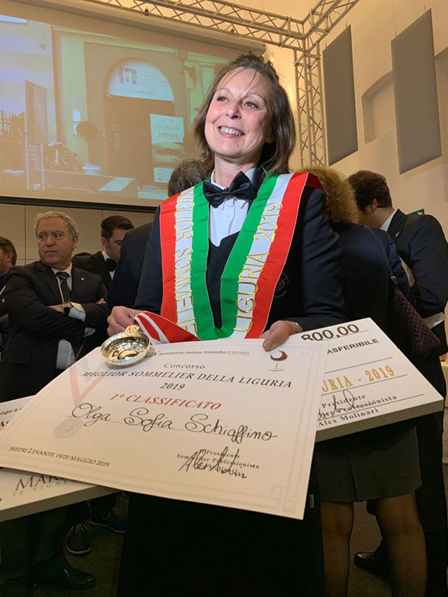 Olga Schiaffino vince Miglior Sommelier di Liguria