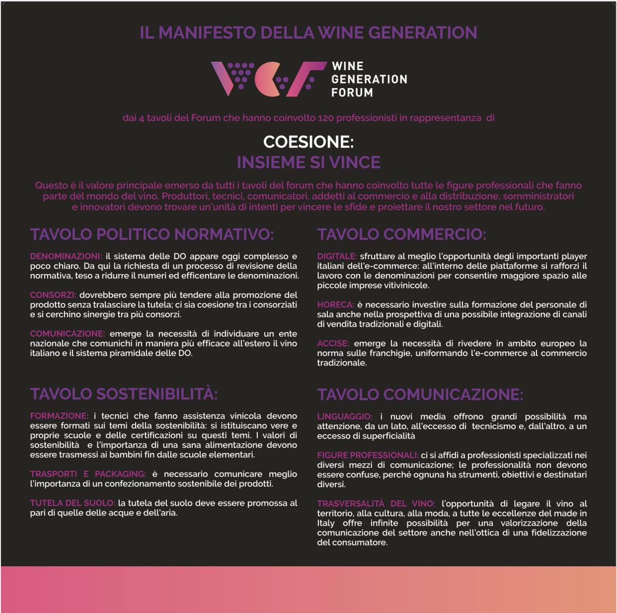 manifesto della wine generation